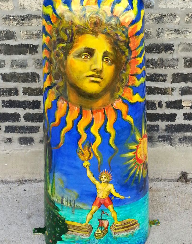 """Detail view of James Mesplé's Sun and Moon Image featured in the """"Hello Helios"""" exhibit in Greektown."""