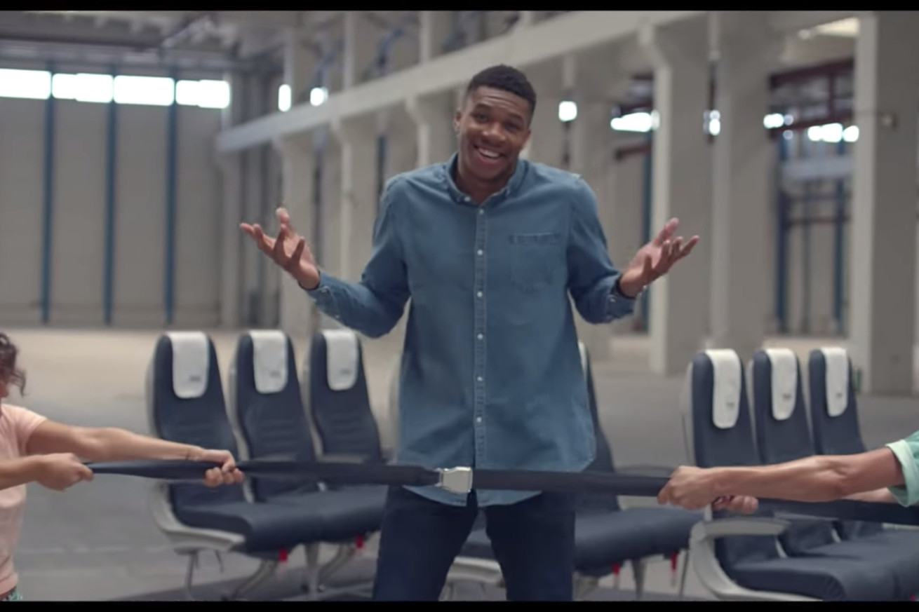 Screen Shot 2019 02 12 at 3.30.18 PM.0 - Giannis Antetokounmpo is also good at showing airplane safety precautions