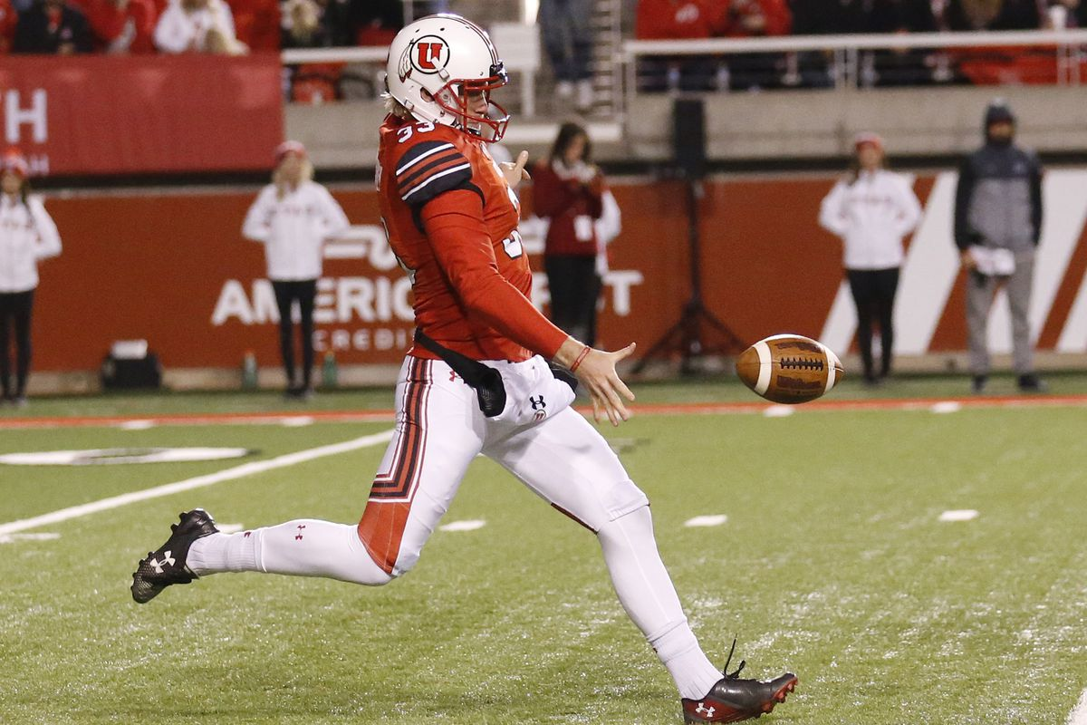 FILE - In this Nov. 11, 2017, photo, Utah's Mitch Wishnowsky punts in the second half during an NCAA college football game against Washington State, in Salt Lake City. Wishnowsky was selected to the AP All-Conference Pac-12 team announced Thursday, Dec. 7