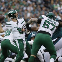 New York Jets' Luke Falk in action during the first half of an NFL football game against the Philadelphia Eagles, Sunday, Oct. 6, 2019, in Philadelphia.