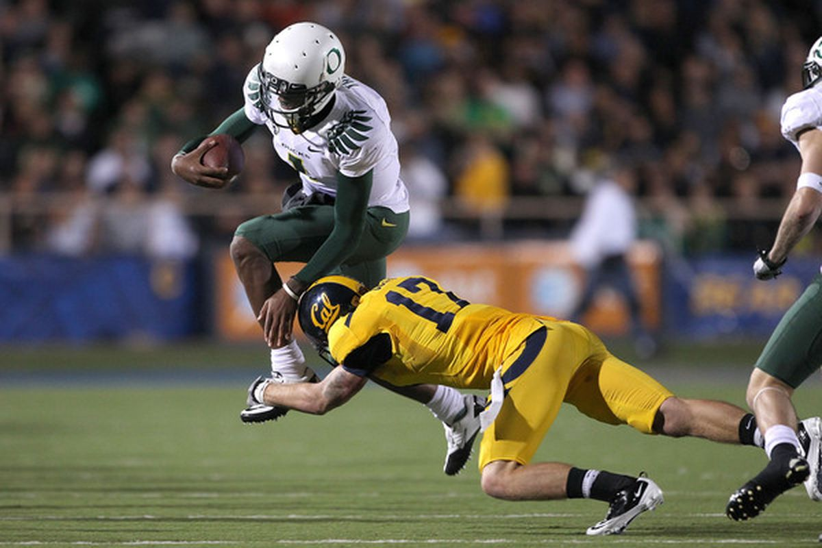 One week removed from nearly getting grounded by Cal, Oregon is still likely to be on top of the BCS rankings. (Photo by Ezra Shaw/Getty Images)