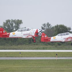 AeroShell Aerobatic Team takes off at Gary Airport for the Chicago Air and Water Show.   Colin Boyle/Sun-Times
