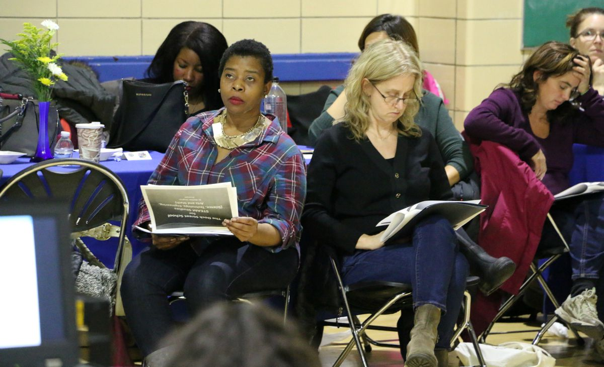 Parents and community members attended a presentation last month to learn about The Dock Street School, a redesigned and relocated version of Satellite West Middle School.