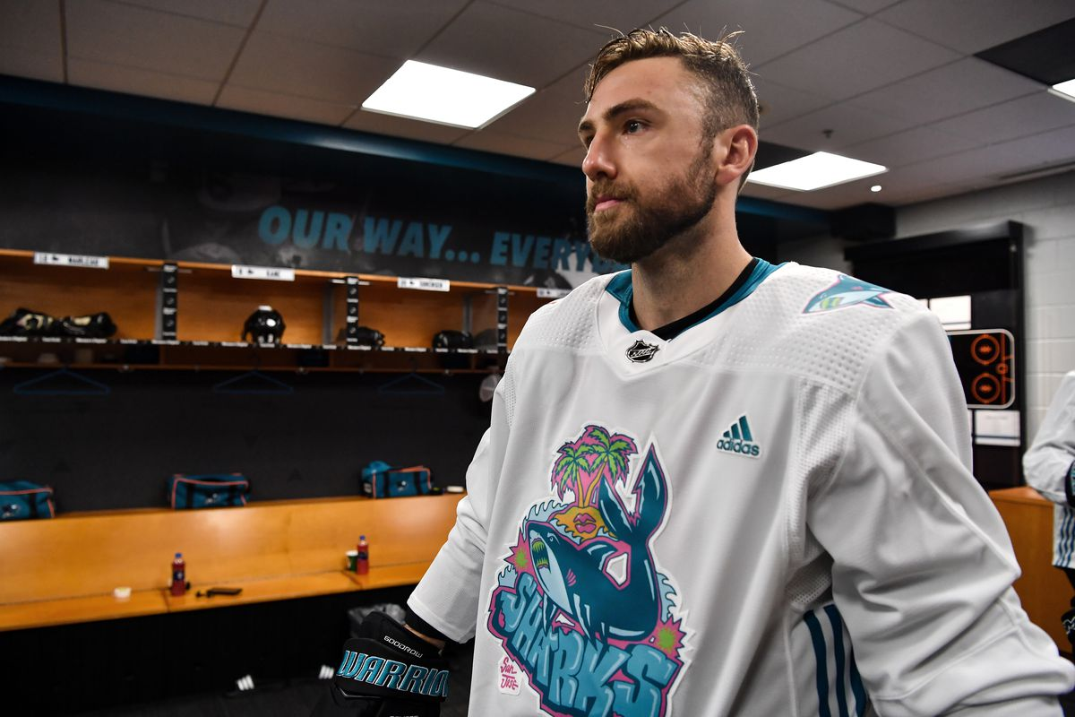 SAN JOSE, CA - FEBRUARY 1: Barclay Goodrow #23 of the San Jose Sharks prepares to take the ice for warmups in Girl Mobb's Graffiti Shark design jerseys against the Tampa Bay Lightning at SAP Center on February 1, 2020 in San Jose, California.