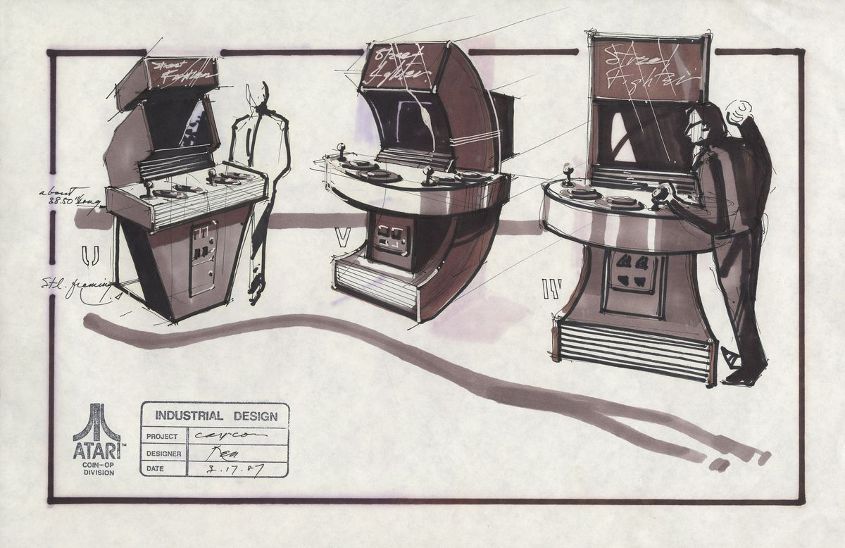 Sketches show three arcade machine concepts with two large buttons next to each joystick