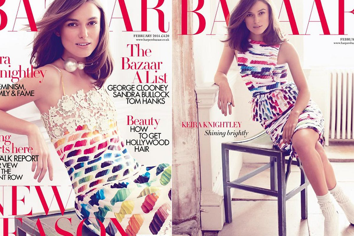 """Photo <a href=""""http://www.fashion-district.org/2013/keira-knightley-covers-harpers-bazaar-uk-colorful-february-2014-issue/"""">via</a> Fashion District"""