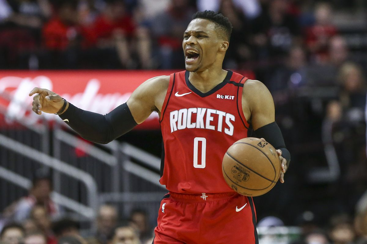 Houston Rockets guard Russell Westbrook dribbles the ball during the first quarter against the New Orleans Pelicans at Toyota Center.