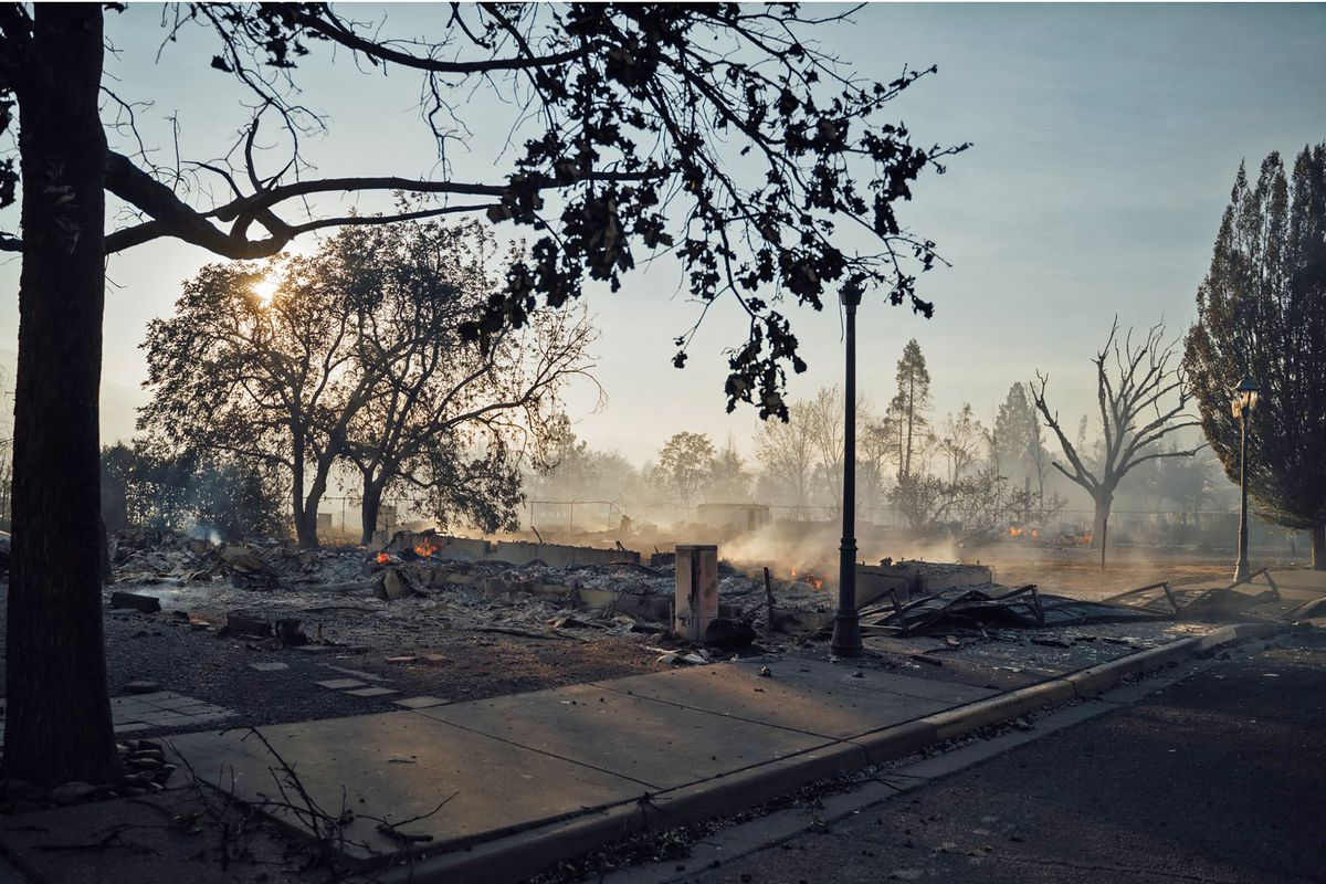This photo taken by Talent, Ore., resident Kevin Jantzer shows the destruction of his hometown in the aftermath of wildfires that ravaged the central Oregon town near Medford, Wednesday, Sept. 9, 2020.