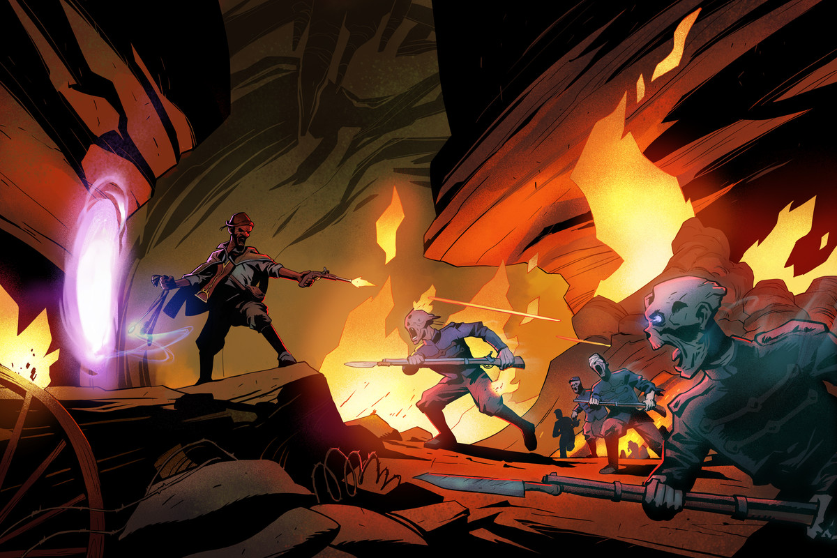 an image of monsters pointing sticks at a person with a gun, lots of fire in the background, and a purple portal to the left