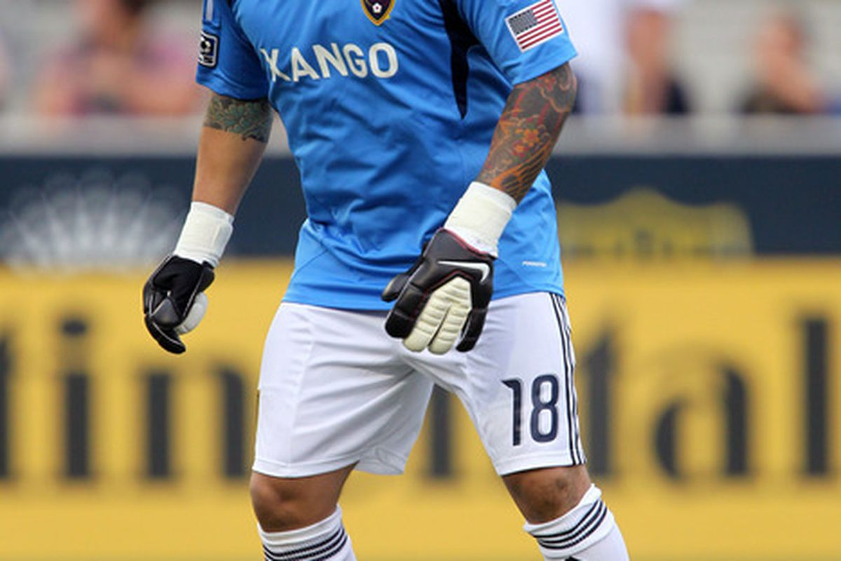 CHESTER, PA - JUNE 11: Goalkeeper Nick Rimando #18 of Real Salt Lake in action during a game against Philadelphia Union at PPL Park on June 11, 2011 in Chester, Pennsylvania. The game ended 1-1. (Photo by Hunter Martin/Getty Images)