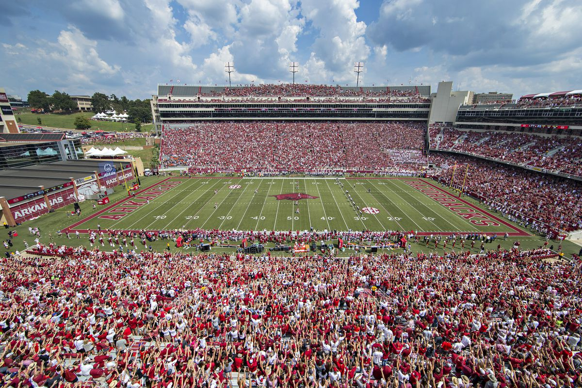 General view of Donald W. Reynolds Stadium before a game between the Arkansas Razorbacks and the UTEP Miners at Razorback Stadium on September 5, 2015 in Fayetteville, Arkansas.