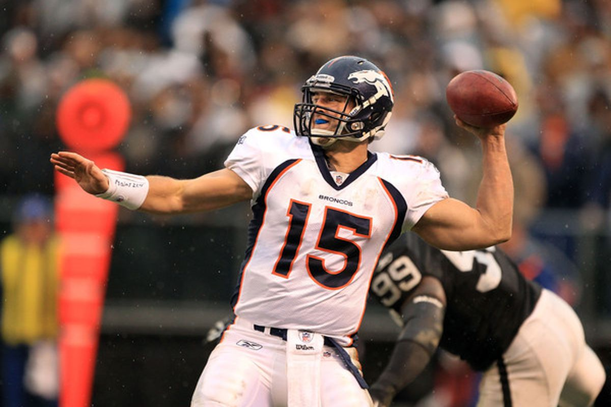OAKLAND CA - DECEMBER 19:  Tim Tebow #15 of the Denver Broncos throws the ball during their game against the Oakland Raiders at Oakland-Alameda County Coliseum on December 19 2010 in Oakland California.  (Photo by Ezra Shaw/Getty Images)