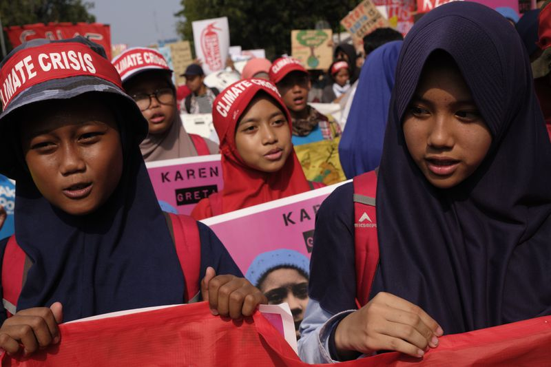 Indonesians Rally In Jakarta For Global Climate Strike