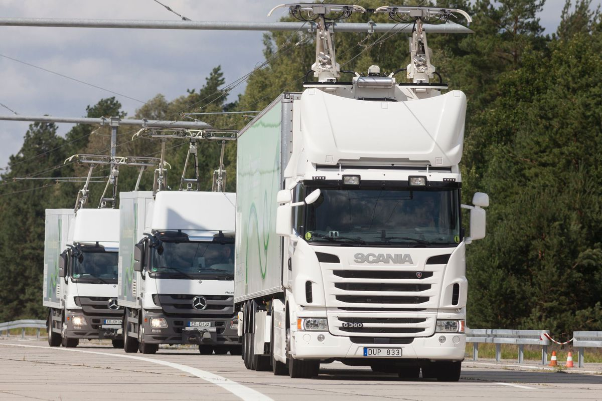 Germany tests overhead wires to charge hybrid trucks on highways