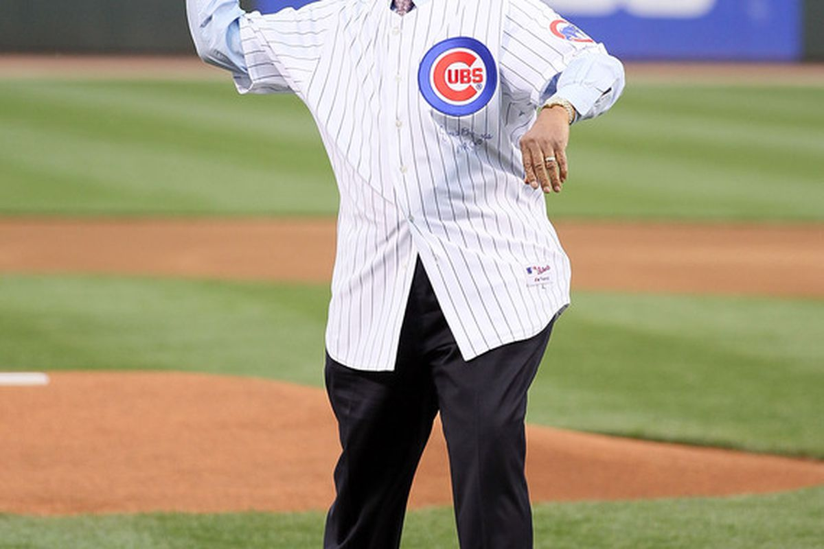 Ernie Banks throws out the first pitch before the Gillette Civil Rights Game between the Cincinnati Reds and the St. Louis Cardinals at Great American Ball Park in Cincinnati, Ohio.  (Photo by Andy Lyons/Getty Images)