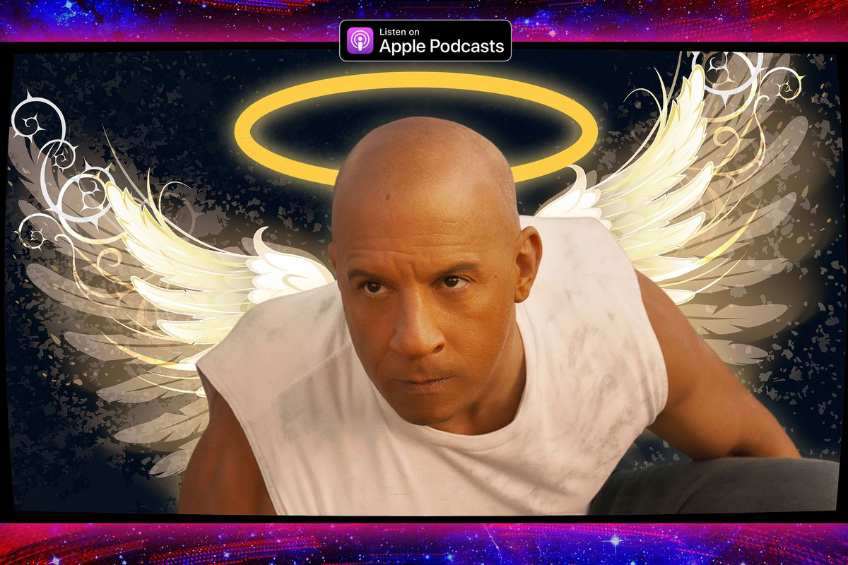 Illustration featuring the Dom from F9 as an angel