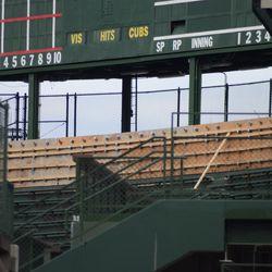 12:17 p.m. The top of the center field bleachers, under the scoreboard -