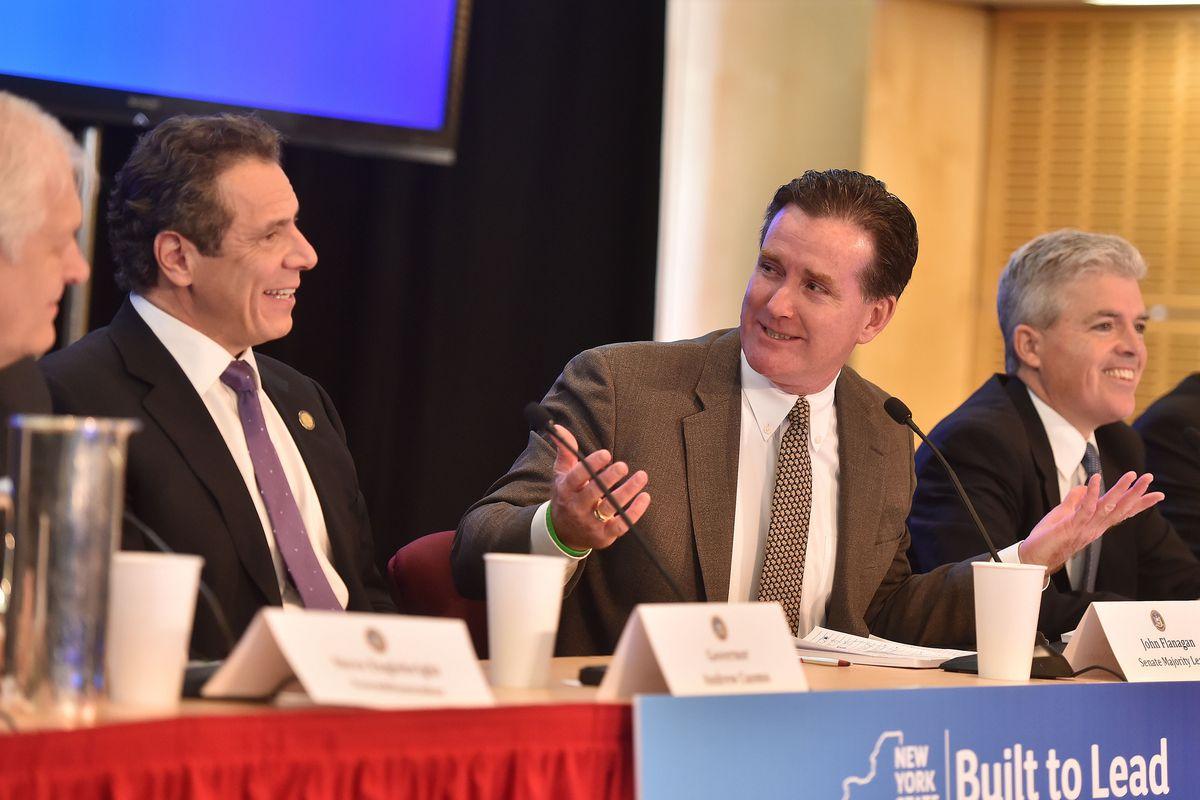 State Senator John Flanagan, at right