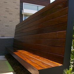 This large bench resides outside the main entrance.