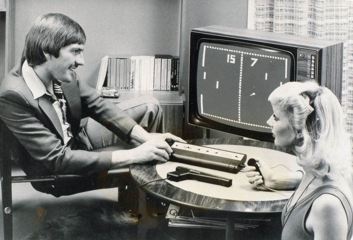 Steve Heighway playing Pong, 26 September 1977.
