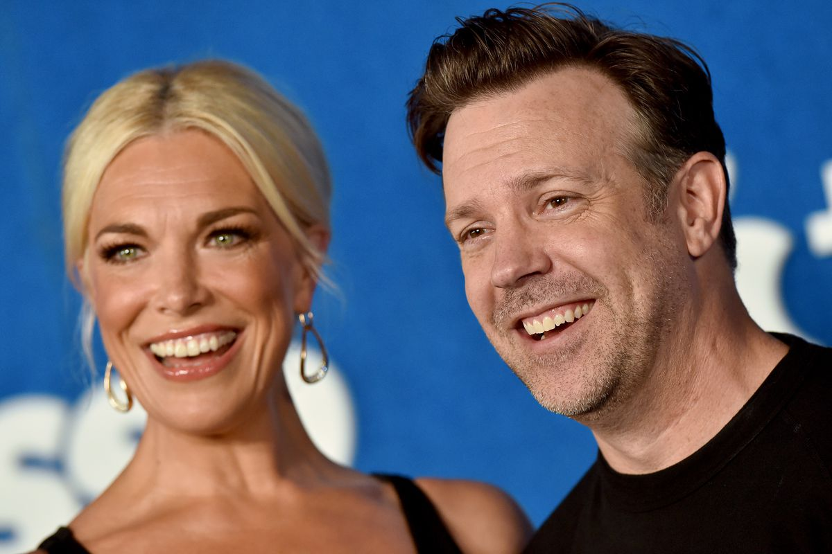 """Hannah Waddingham and Jason Sudeikis attend Apple's """"Ted Lasso"""" Season 2 Premiere at Pacific Design Center on July 15, 2021 in West Hollywood, California."""