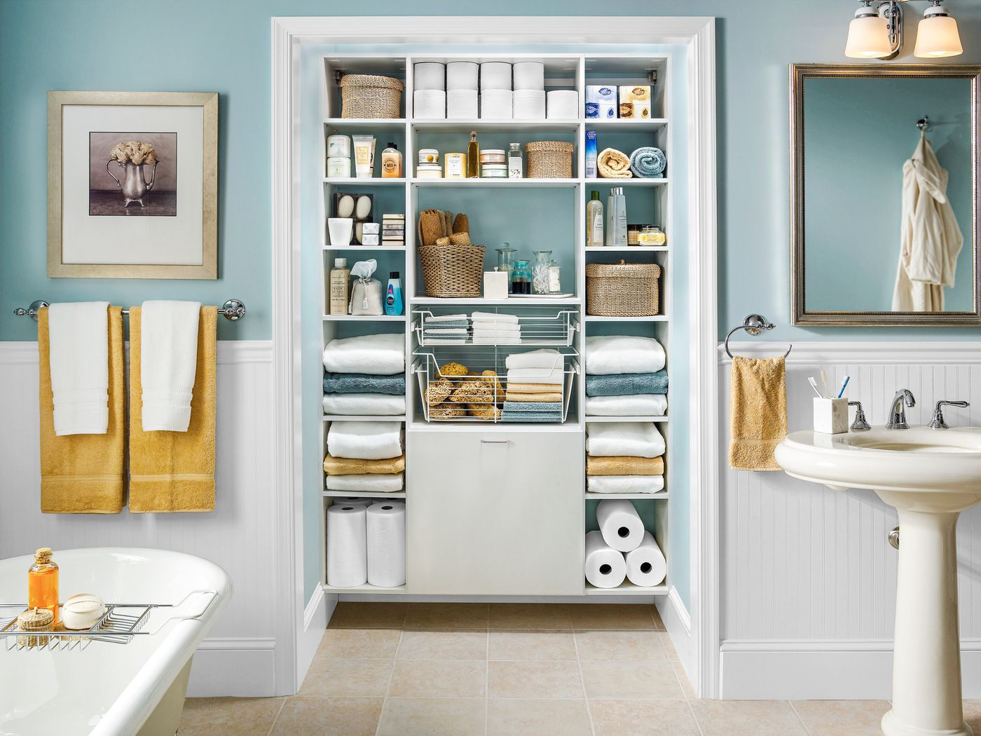 Bathroom Mural Closet Storage Box Cabinet Shower Clothes Organizer Folding Shelf