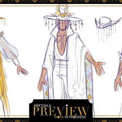 Concept art for a Twisted Fate gala outfit