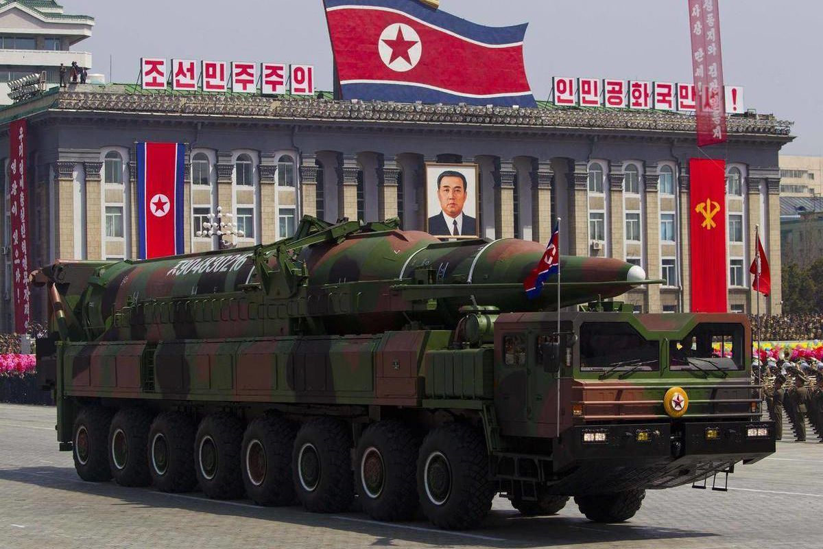FILE - In this April 15, 2012 file photo, a North Korean vehicle carrying a missile passes by during a mass military parade in Pyongyang's Kim Il Sung Square to celebrate the centenary of the birth of the late North Korean founder Kim Il Sung. The enormou