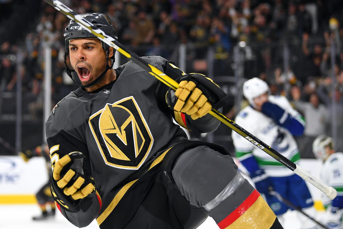 6eb365f43d0 Vegas Golden Knights right wing Ryan Reaves (75) celebrates his goal  Stephen R. Sylvanie-USA TODAY Sports