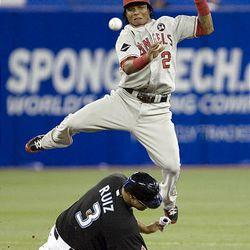 Los Angeles Angels shortstop Erick Aybar leaps over Toronto Blue Jays' Randy Ruiz to turn a double play off the bat of Blue Jays' Rod Barajas.