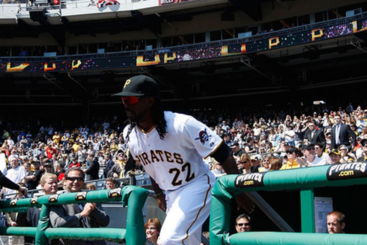 PITTSBURGH - APRIL 07:  Andrew McCutchen #22 of the Pittsburgh Pirates is introduced before the Opening Day game against the Colorado Rockies on April 7, 2011 at PNC Park in Pittsburgh, Pennsylvania.  (Photo by Jared Wickerham/Getty Images)