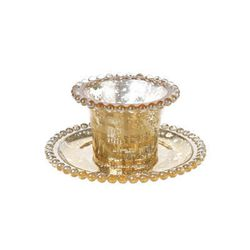 """The sparkle and shine of this mercury glass <a href=""""http://www.thelittleapplestore.com/product/mercury-glass-votive-and-tray"""">votive and tray</a> ($12 at The Little Apple) will complement your burlap tablerunner."""