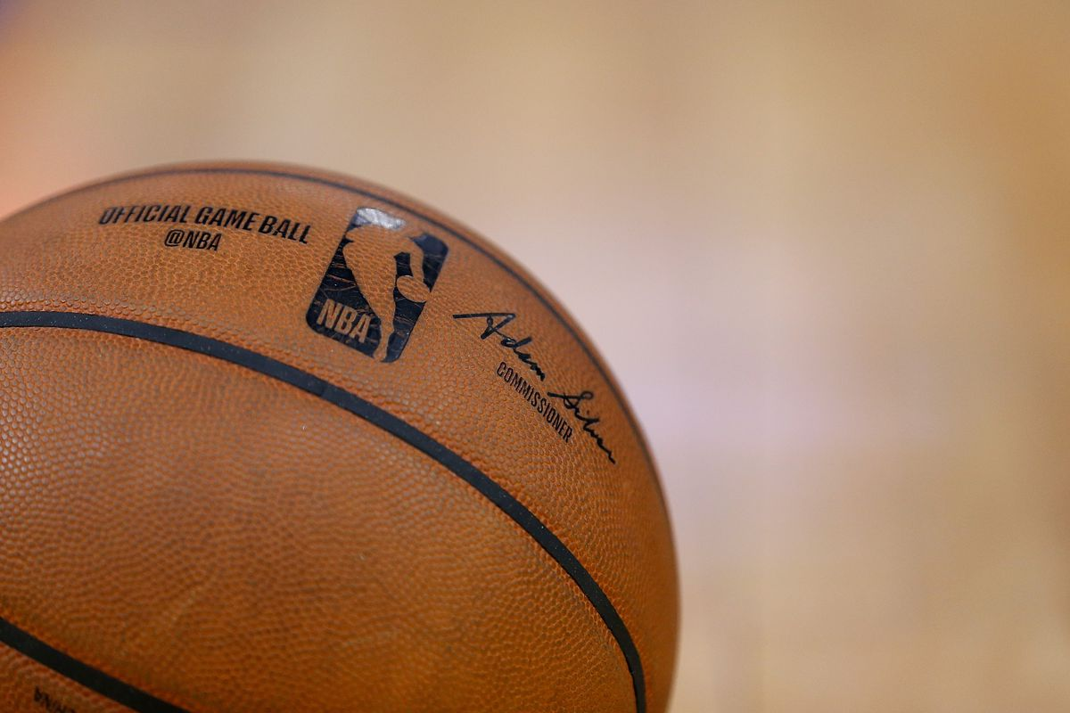 A detail shot of the gam e ball during the game between the Golden State Warriors and the Philadelphia 76ers at Chase Center on March 07, 2020 in San Francisco, California.