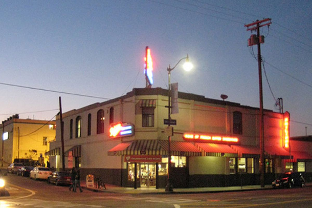 Philippe's, Home of the French Dip, at Dusk.