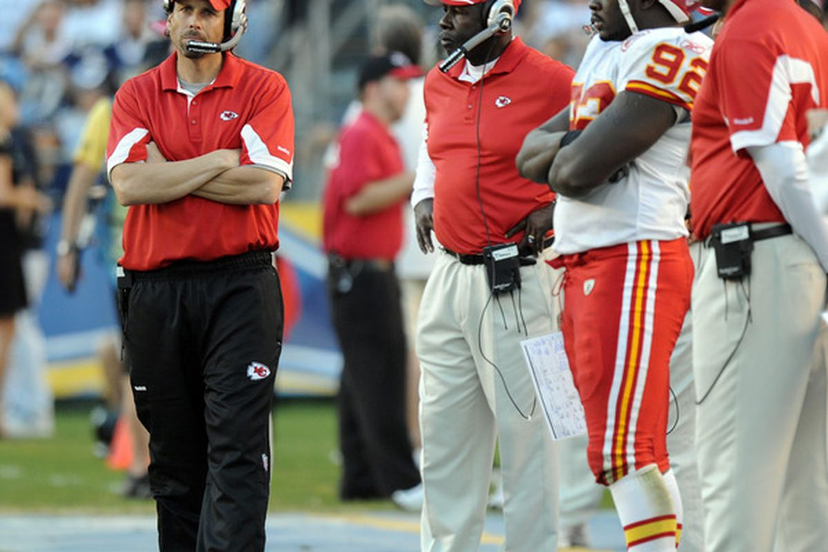 SAN DIEGO CA - DECEMBER 12: Head Coach Todd Haley of the Kansas City Chiefs paces on the sidelines during a 31-0 loss to the San Diego Chargers at Qualcomm Stadium on December 12 2010 in San Diego California.  (Photo by Harry How/Getty Images)