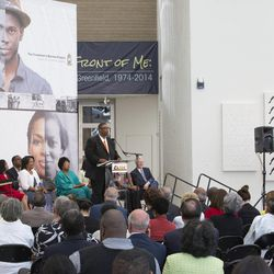 Thom Reed, a project manager for FamilySearch in Salt Lake City, talks about the Freedmen's Bureau Project at a news conference at the California African American Museum in Los Angeles on Friday, June 19, 2015. FamilySearch, the largest genealogy organization in the world, partnered with several African-American genealogy organizations on the project and launched discoverfreedmen.org.