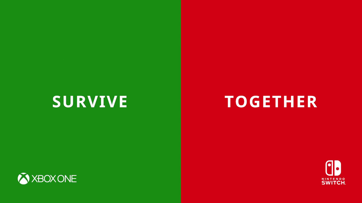 'SURVIVE TOGETHER' image with Xbox One and Nintendo Switch logos from Minecraft on Switch cross-play commercial
