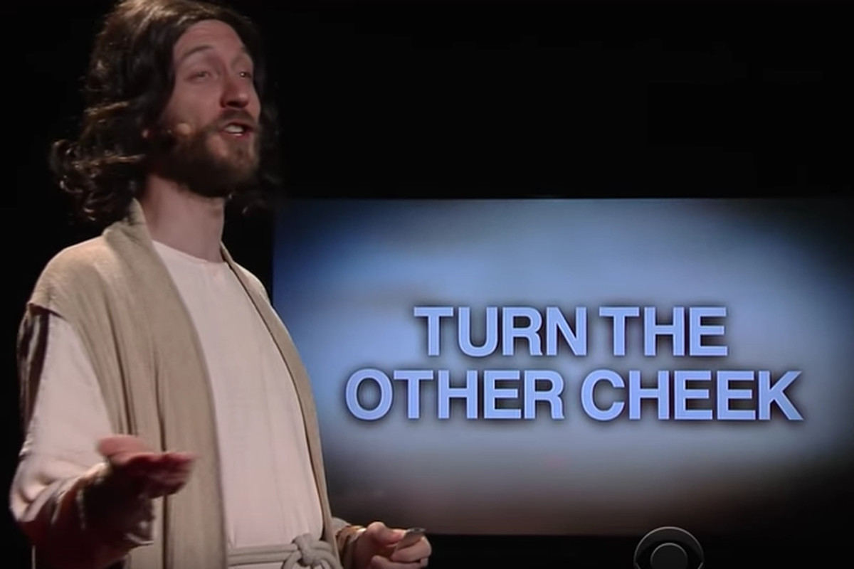 Image of Jesus in parody TED talk sketch from The Late Show with Stephen Colbert