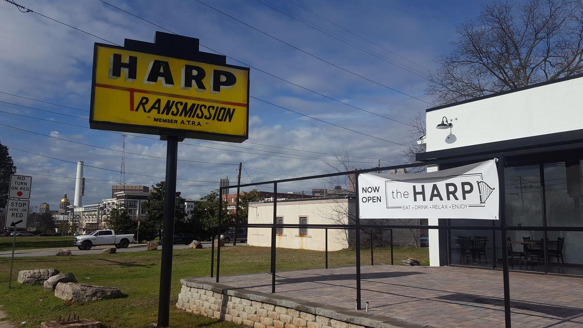"A sign outside still says ""Harp Transmission."""