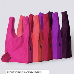 """A serious shopping excursion takes more than one bag - perfect for the $35 <a href=""""http://baggubag.com/#/Enlarge/BAGGU+X5/Berries/"""" rel=""""nofollow"""">Baggu 5-pack with drawstring sack</a>"""