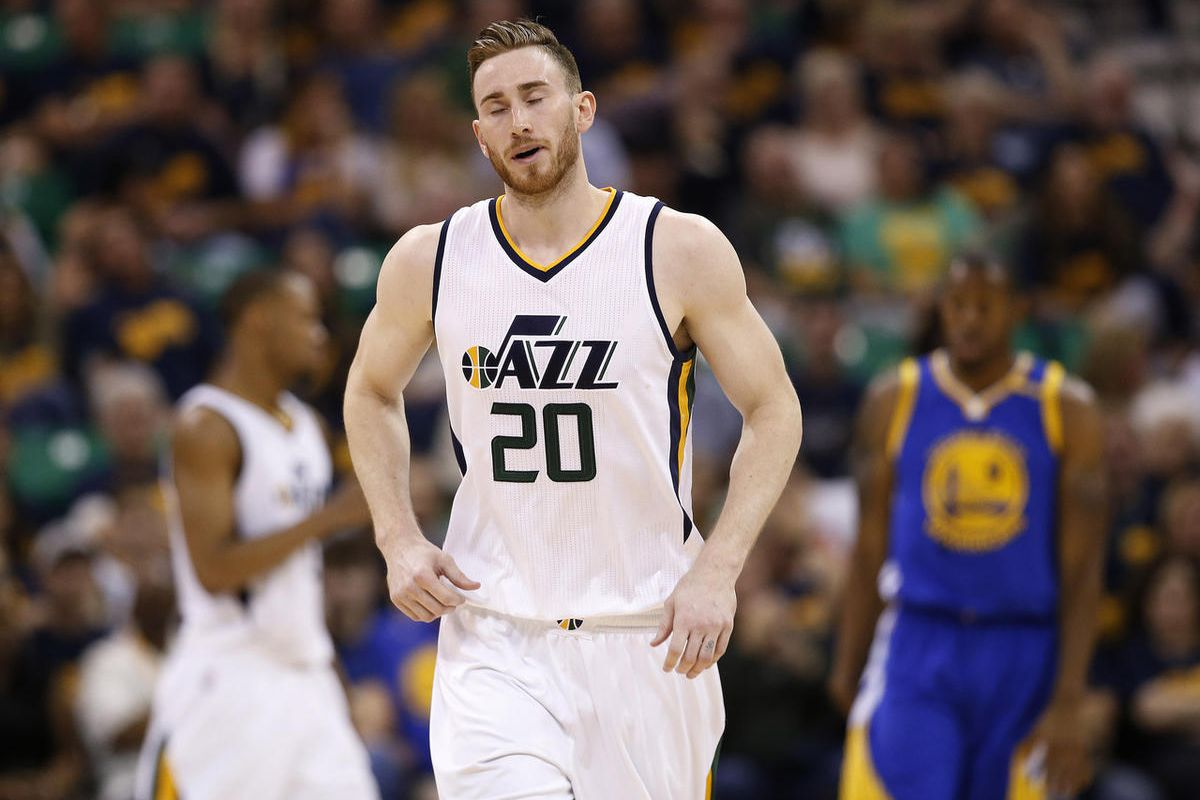 Utah Jazz forward Gordon Hayward (20) grimaces during the second round of the NBA playoffs and game 3 in Salt Lake City on Saturday, May 6, 2017. The Warriors won 102-91.