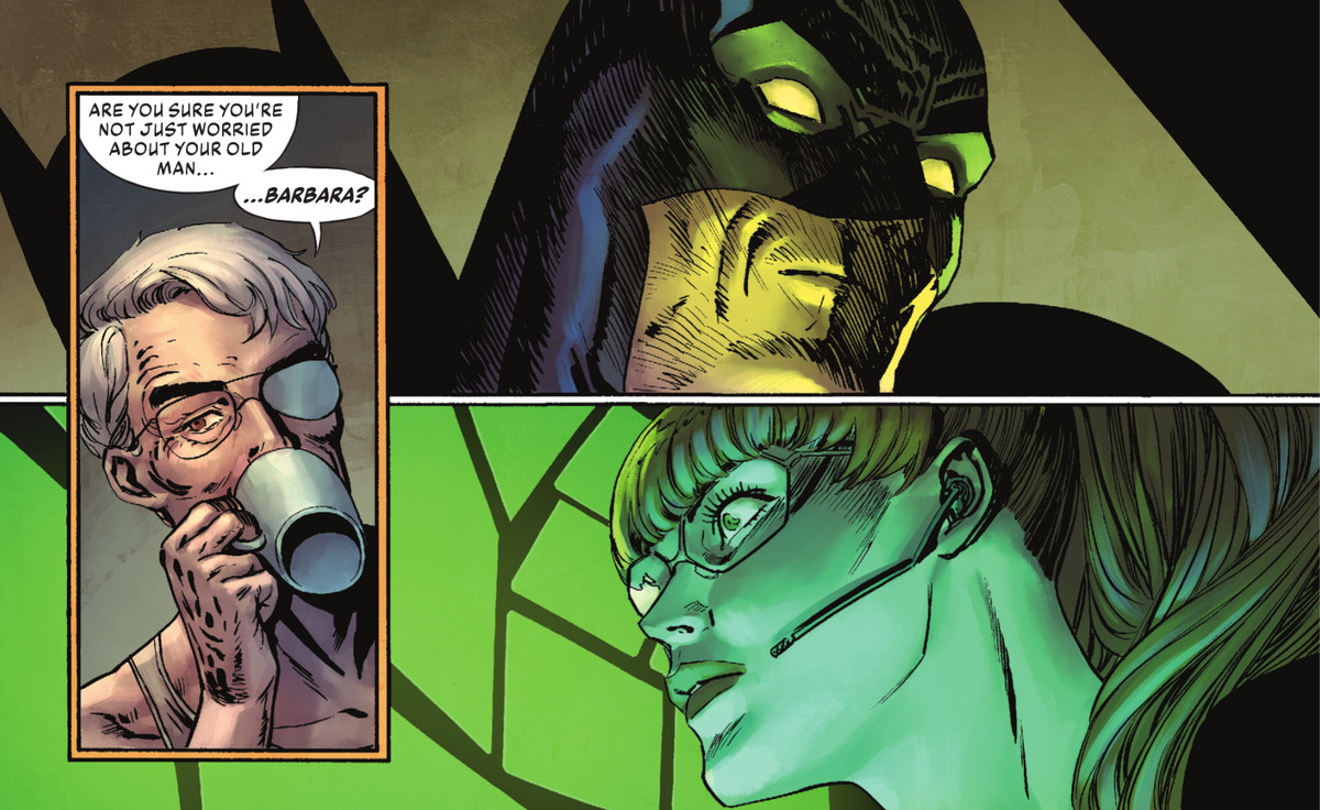 James Gordon reveals that he already knows that Batgirl/Oracle is his daughter, Barbara Gordon, to the surprise of Oracle and Batman in The Joker #2, DC Comics (2021).