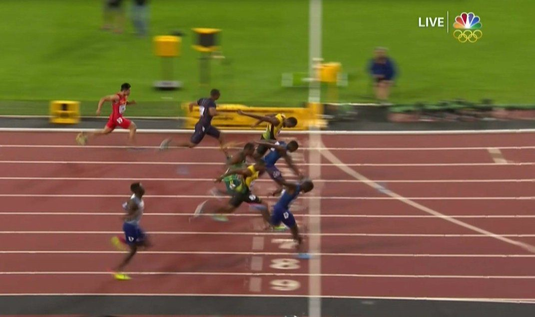 Gatlin edged both fellow American Christian Coleman and the Jamaican Bolt in a photo finish.