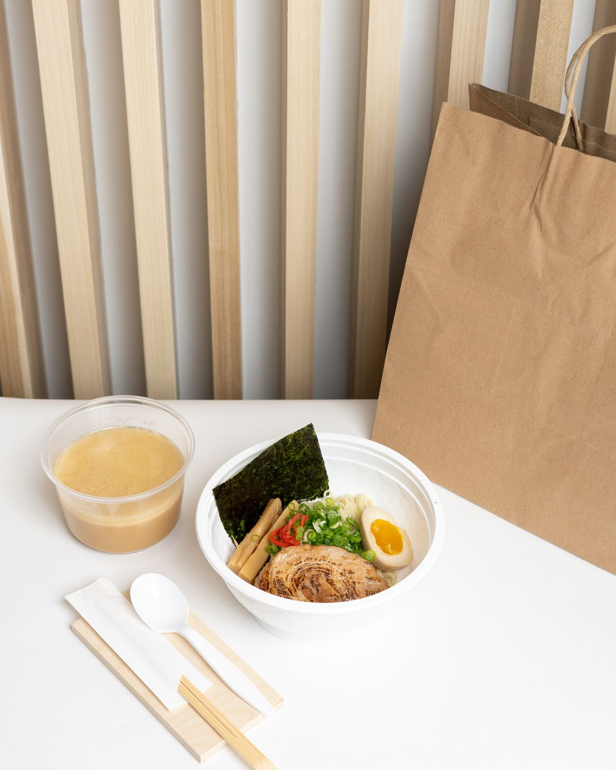 Menya Hosaki packages broth and noodles separately for to-go orders