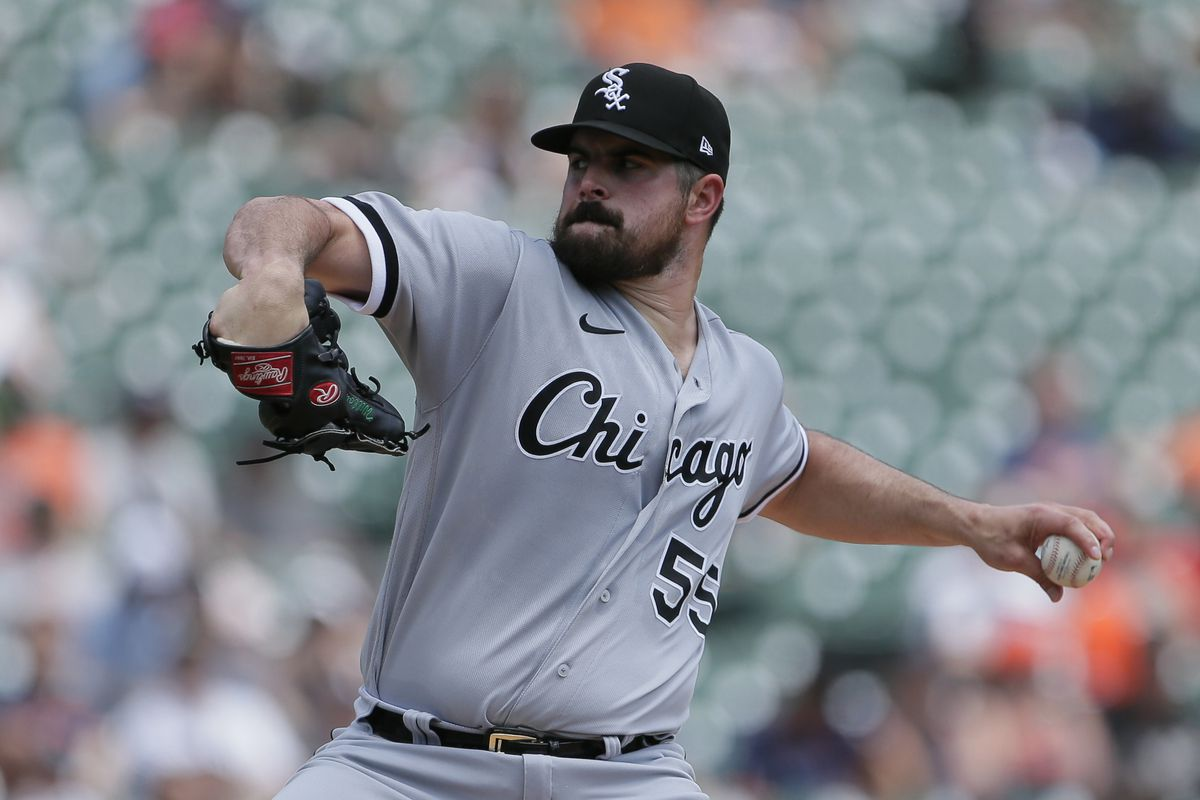 Carlos Rodon #55 of the Chicago White Sox pitches against the Detroit Tigers at Comerica Park on June 13, 2021, in Detroit, Michigan.