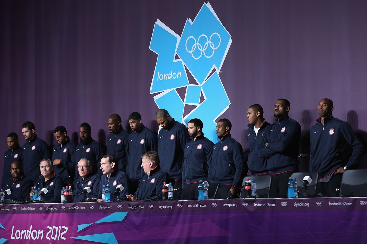 LONDON, ENGLAND - JULY 27:  The USA Men's Basketball team looks on during a press conference ahead of the London 2012 Olympics on July 27, 2012 in London, England.  (Photo by Jeff Gross/Getty Images)