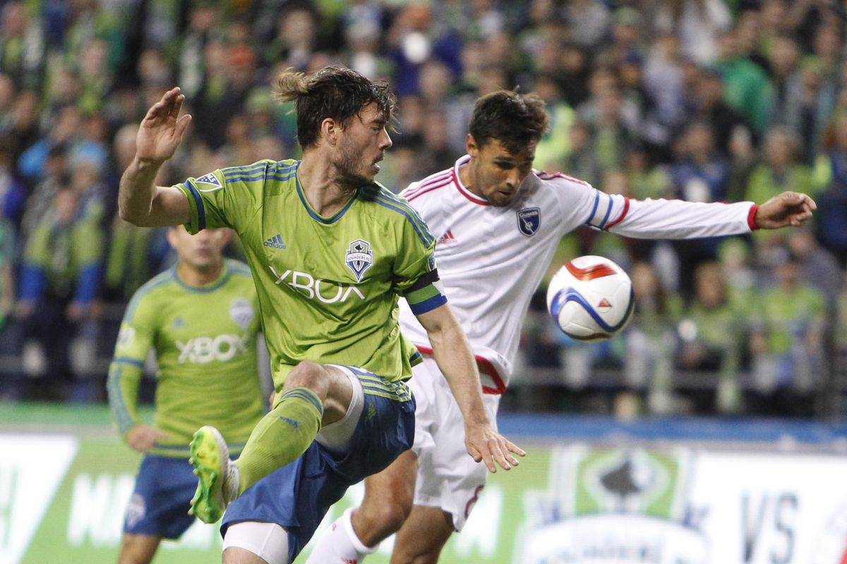 Wondolowski got the best of Evans to score the Quakes second goal against Seattle