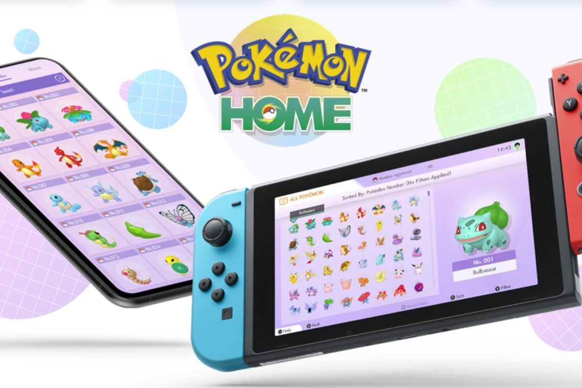A Nintendo Switch console and a phone displaying the Pokémon Home app