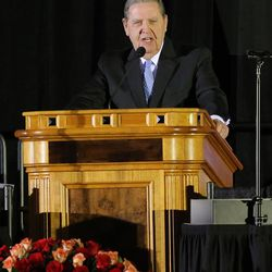 Elder Jeffrey R. Holland of the LDS Church's Quorum of the Twelve speaks as family, friends and former team members gather to honor former BYU football coach LaVell Edwards at a memorial service at the Provo Convention Center on Friday, Jan. 6, 2017.