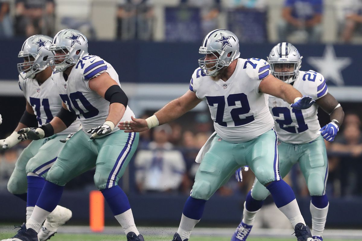 Dallas Cowboys C Travis Frederick, RG Zack Martin and RT La'el Collins block for RB Ezekiel Elliott against the Los Angeles Rams in Week 4, October 1, 2017.